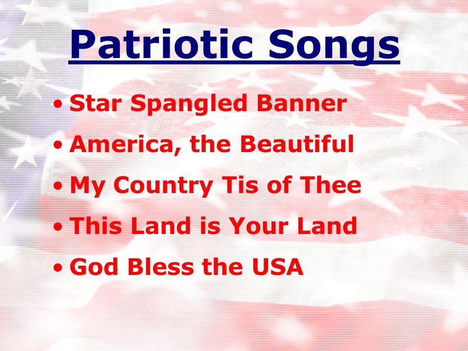 Patriotic Songs Star Spangled Banner America, the Beautiful