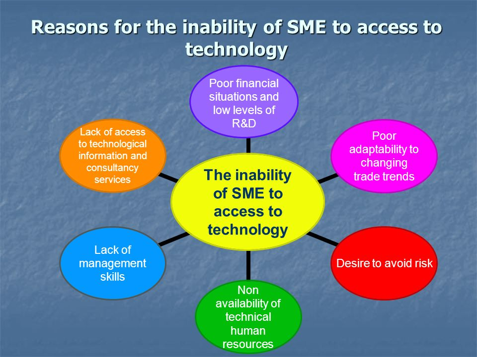 Reasons for the inability of SME to access to technology