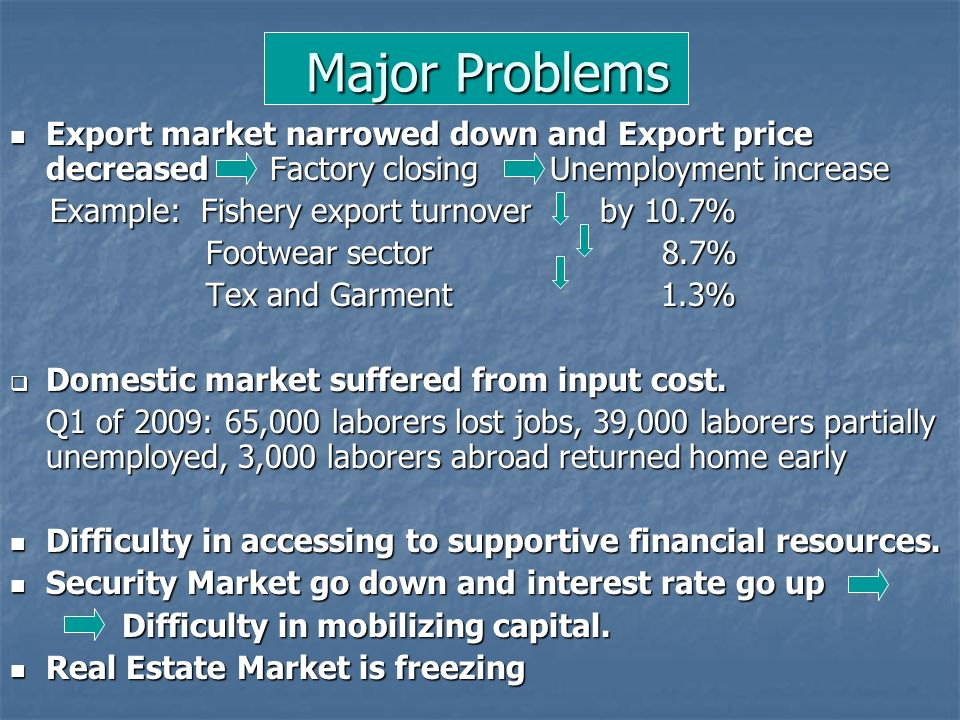 Major Problems Export market narrowed down and Export price decreased Factory closing Unemployment increase.