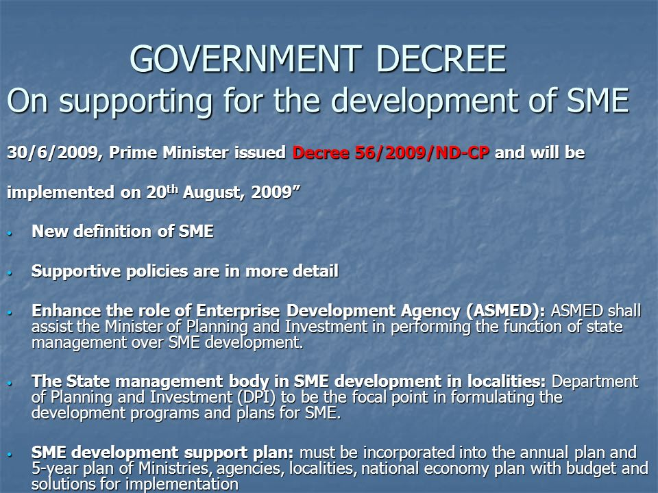 GOVERNMENT DECREE On supporting for the development of SME