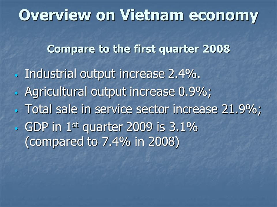 Overview on Vietnam economy Compare to the first quarter 2008
