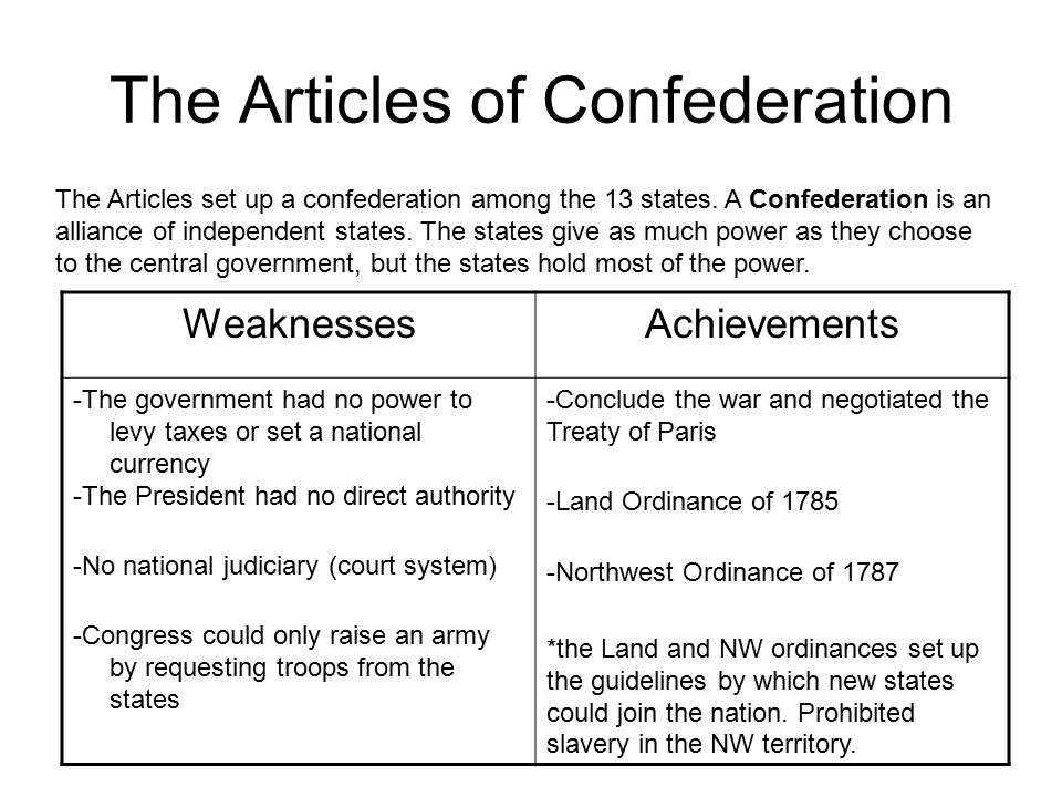 articles involving confederation and that treaty connected with paris