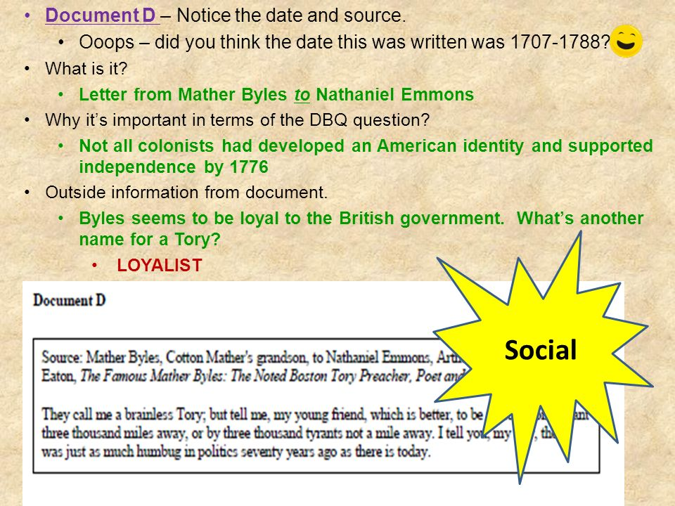 Social Document D – Notice the date and source.