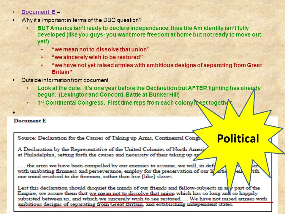 Document E – Why it's important in terms of the DBQ question