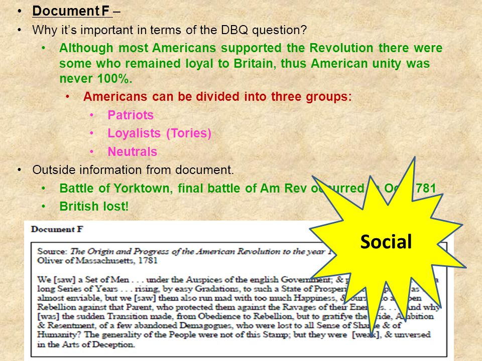Social Document F – Why it's important in terms of the DBQ question