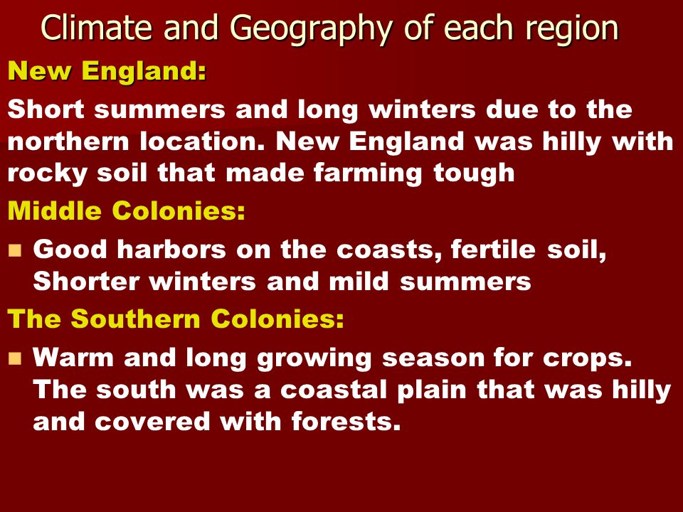 Climate and Geography of each region