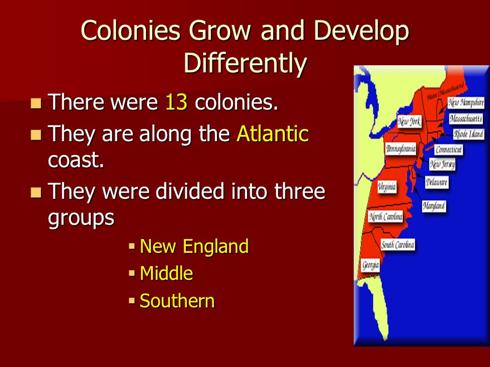 how the new england southern and middle colonies developed differently The chesapeake and new england colonies developed differently as a result of their motives for leaving england  (new england, middle and southern colonies).