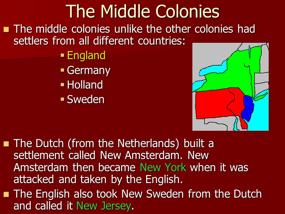 The Middle Colonies The middle colonies unlike the other colonies had settlers from all different countries: