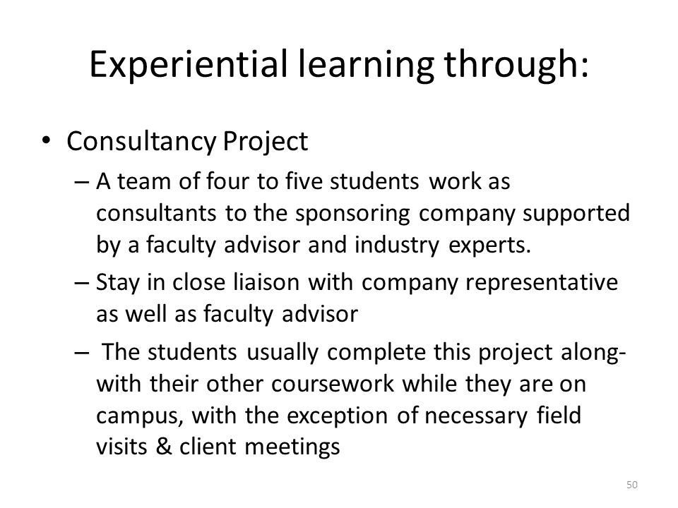 Management of experiential learning projects in marketing coursework