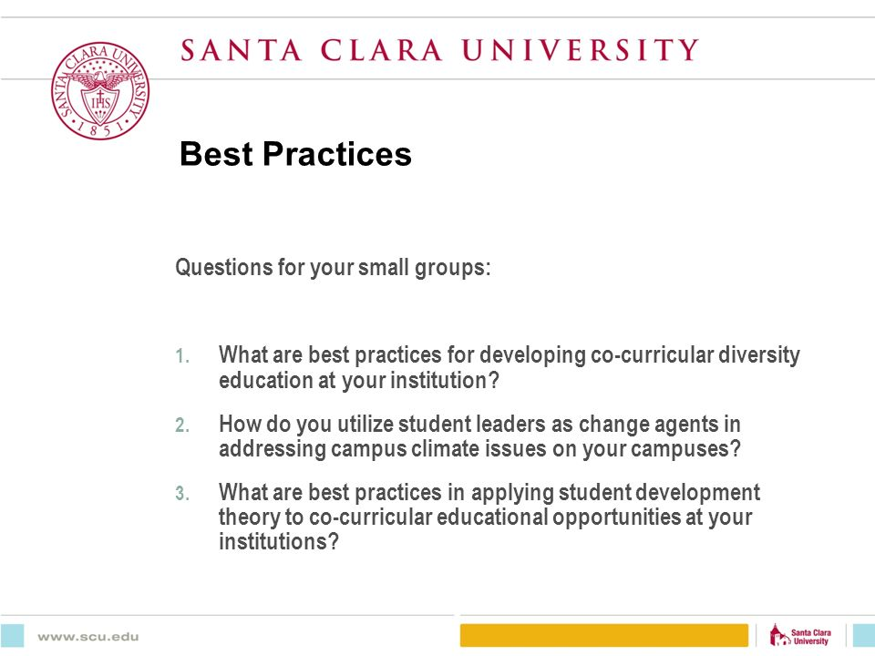 santa clara university assistant dean for off campus student life  best practices questions for your small groups