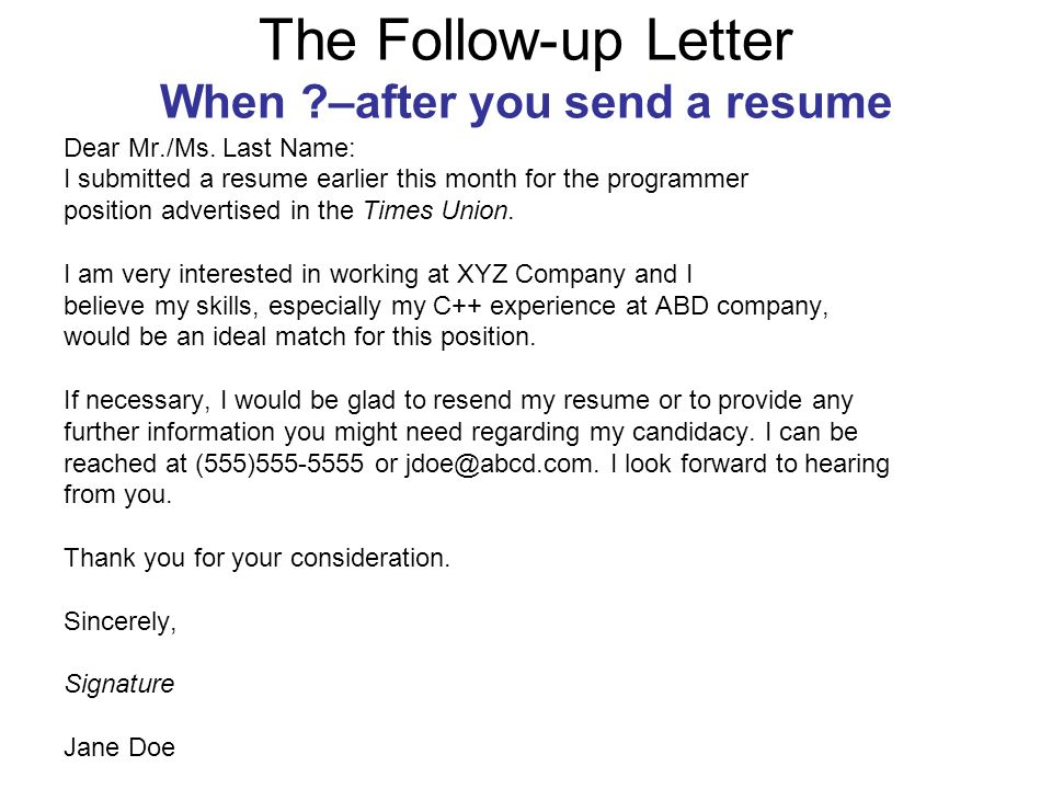 The Follow Up Letter When U2013after You Send A Resume  Follow Up Letter After Resume