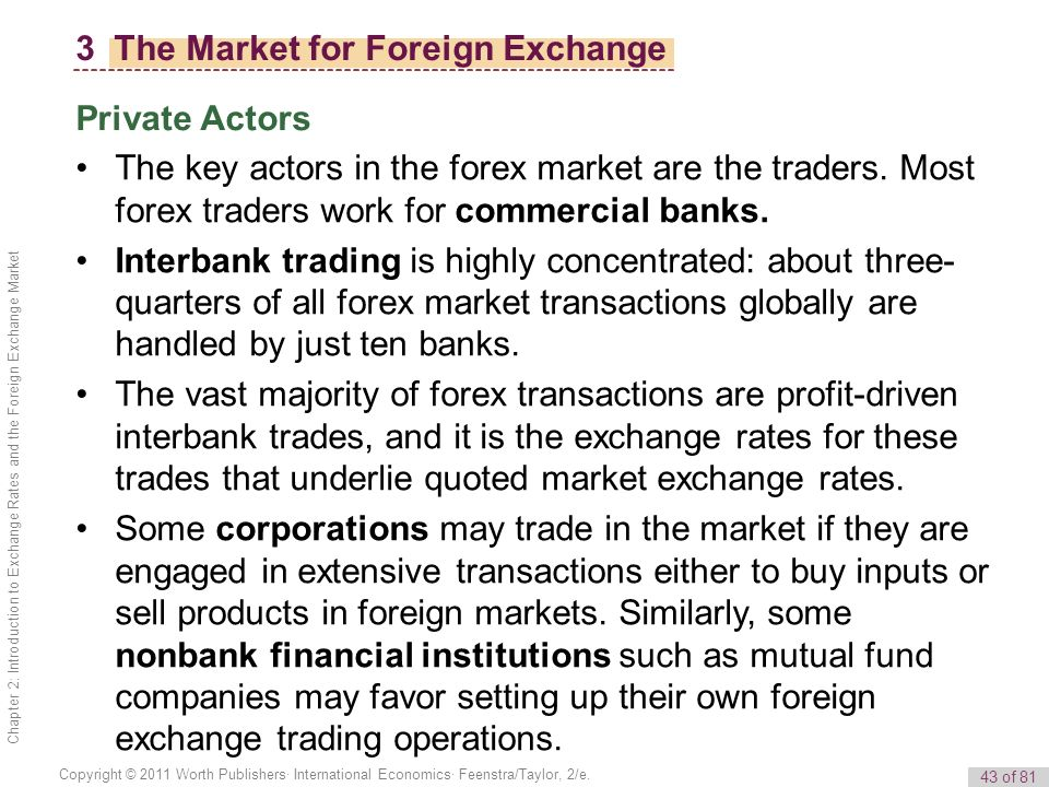 The market for foreign exchange