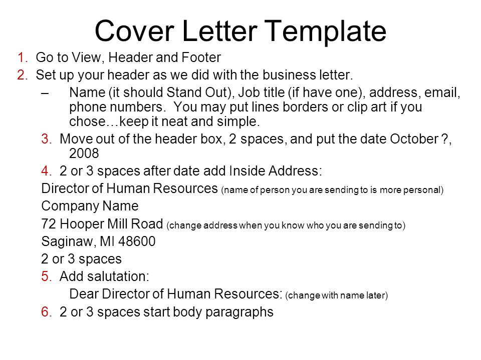 Warm Up 10/8/08 Open All The Example Cover Letters In The Public L: Drive, Stepping Out Folder