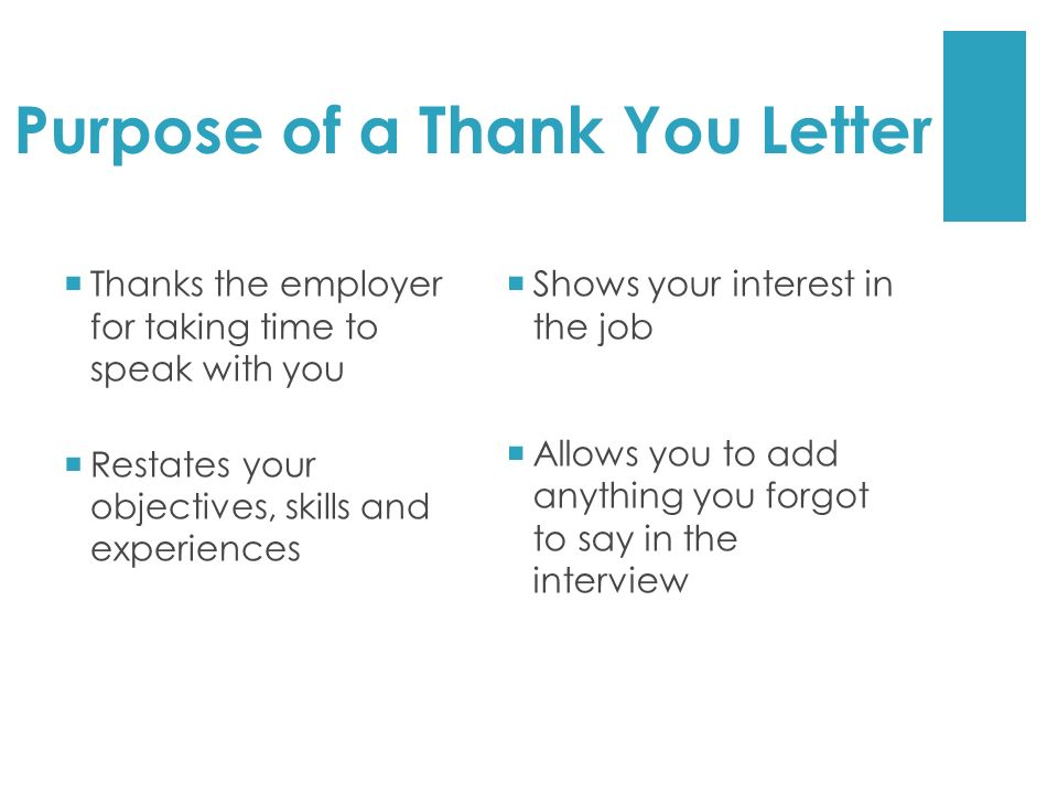 Purpose of a Thank You Letter