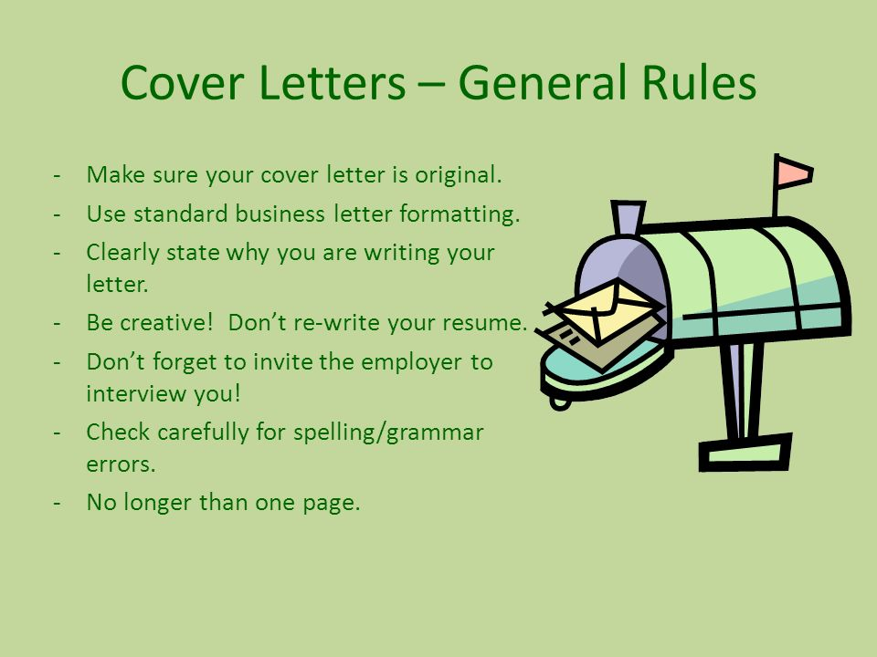Rules For Cover Letters | Cover Letters E2 80 93 General Rules