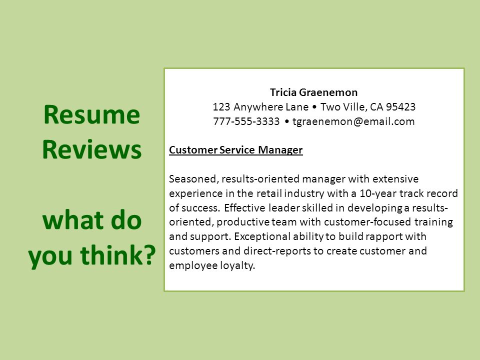 Build Rapport With Customers Resume