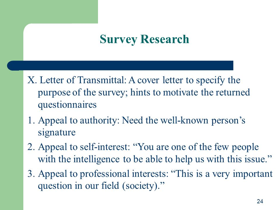 research survey cover letters