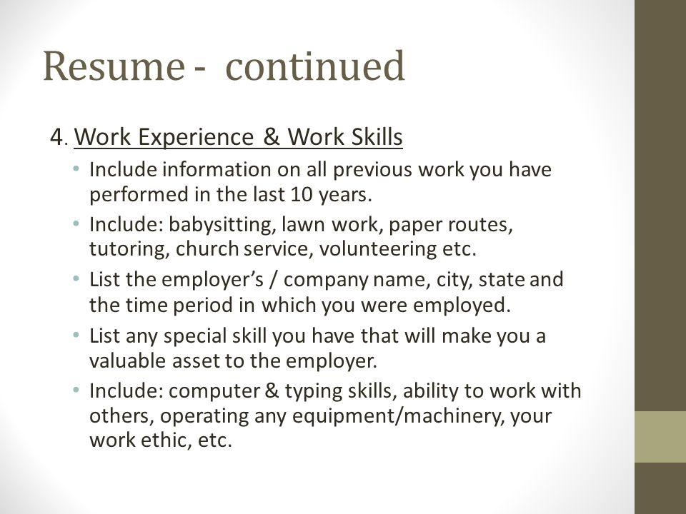 Work Experience Essay