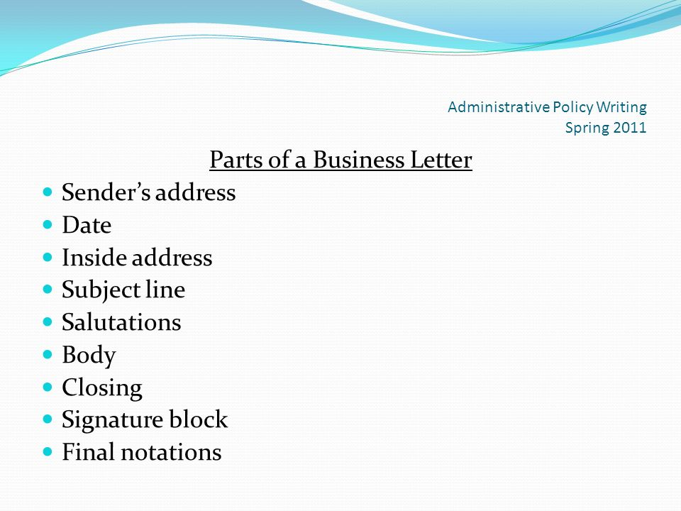 Business Letter Format And Ethics  Ppt Download