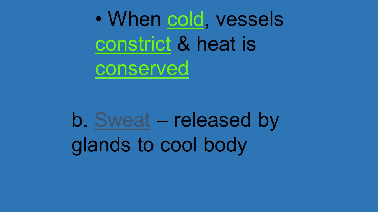 When cold, vessels constrict & heat is conserved