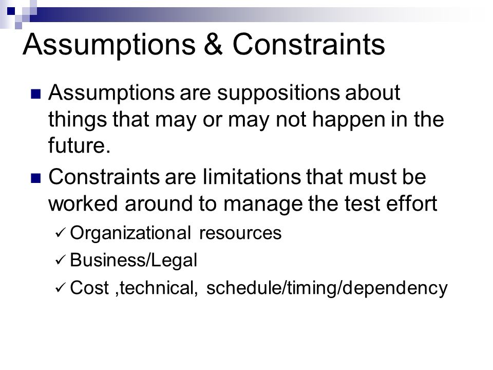 accounting assumptions and constraints