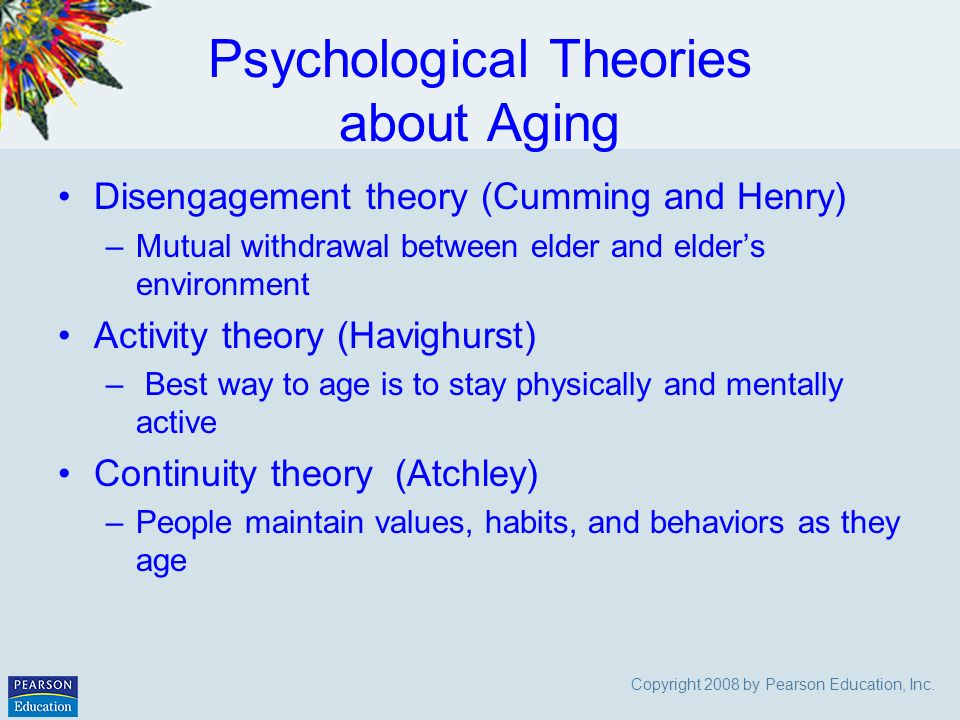 ageing theory The article discusses the counseling implications and applications of a number of  social theories of aging it explores the effects of some of the rather distin.