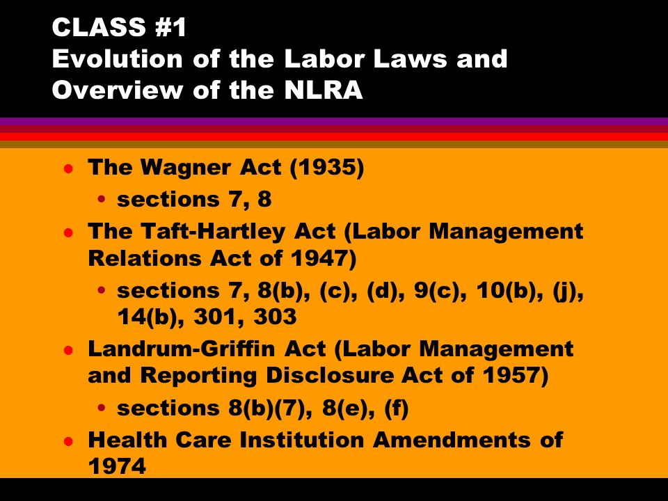 compare the wagner act and the taft hartley act Southwestern law journal a comparative survey of the wagner act and the taft-hartley bill t he purpose of the labor-management relations act, 1947 (the taft-hartley bill), is declared by congress to be the.