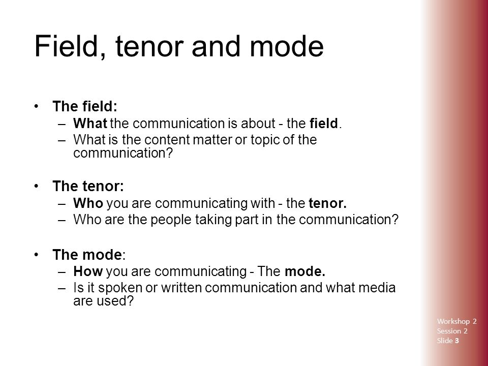 field mode tenor Knowledge about language in the australian curriculum knowledge about language in the australian curriculum: english more crafted language of the written mode.