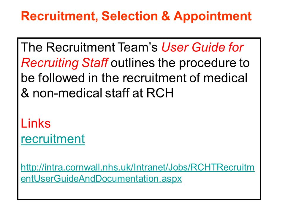 recruitment and selection within health For assistance in tailoring this policy to suit your organisation, or for legal advice  at  all recruitment and selection procedures and decisions will reflect [name of .