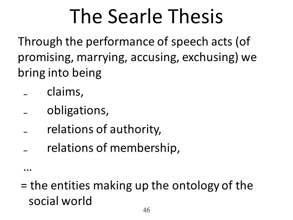 thesis speech acts Mentioned in acts 2: 2-4 as involving ―intelligible speech‖ where each individual heard what was being said in his own language 13 harrison emphasizes, ―the same cannot be certified for other occasions when tongues are mentioned in.