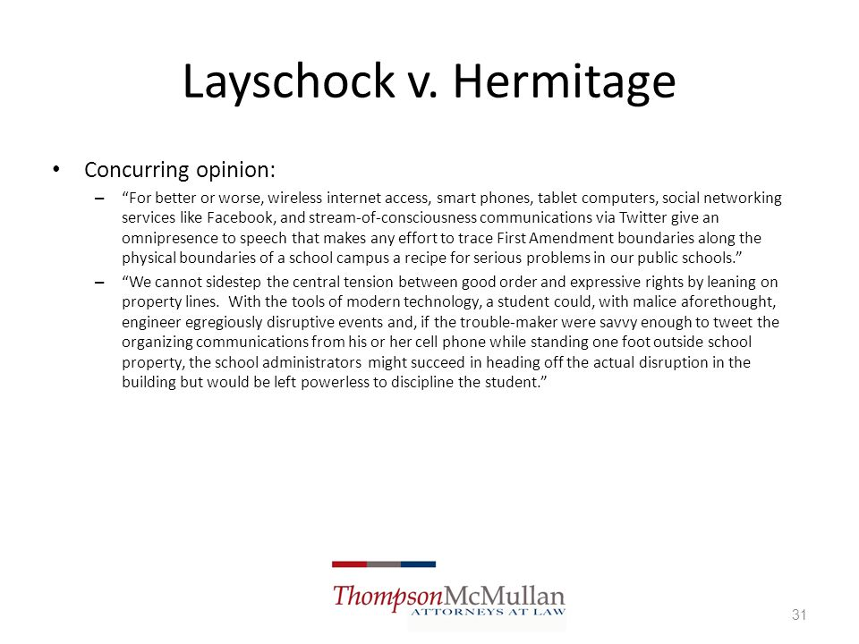 Layschock v. Hermitage Concurring opinion: