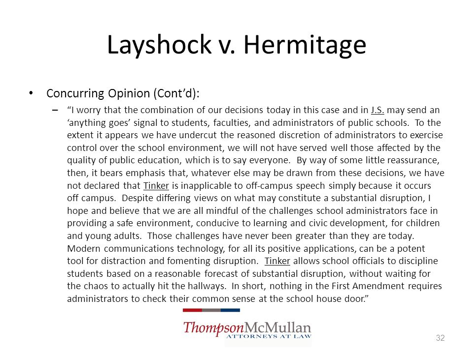 Layshock v. Hermitage Concurring Opinion (Cont'd):