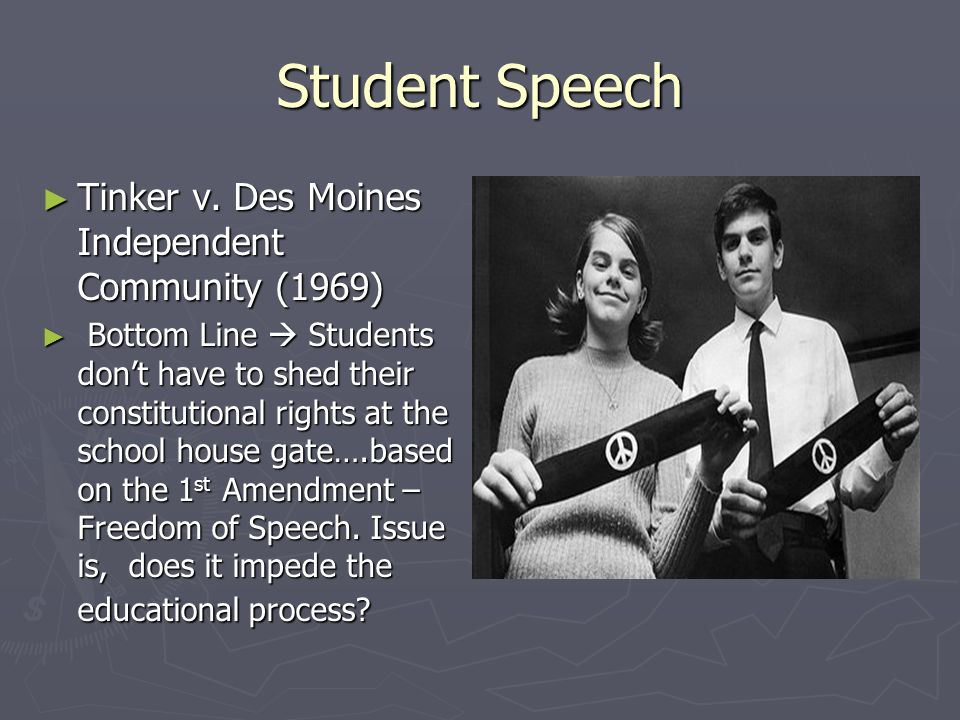 a comparison of tinker versus des moines This landmark supreme court case was known as tinker v des moines independent school district from the case of tinker v in comparison.