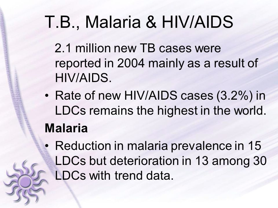 T.B., Malaria & HIV/AIDS 2.1 million new TB cases were reported in 2004 mainly as a result of HIV/AIDS.