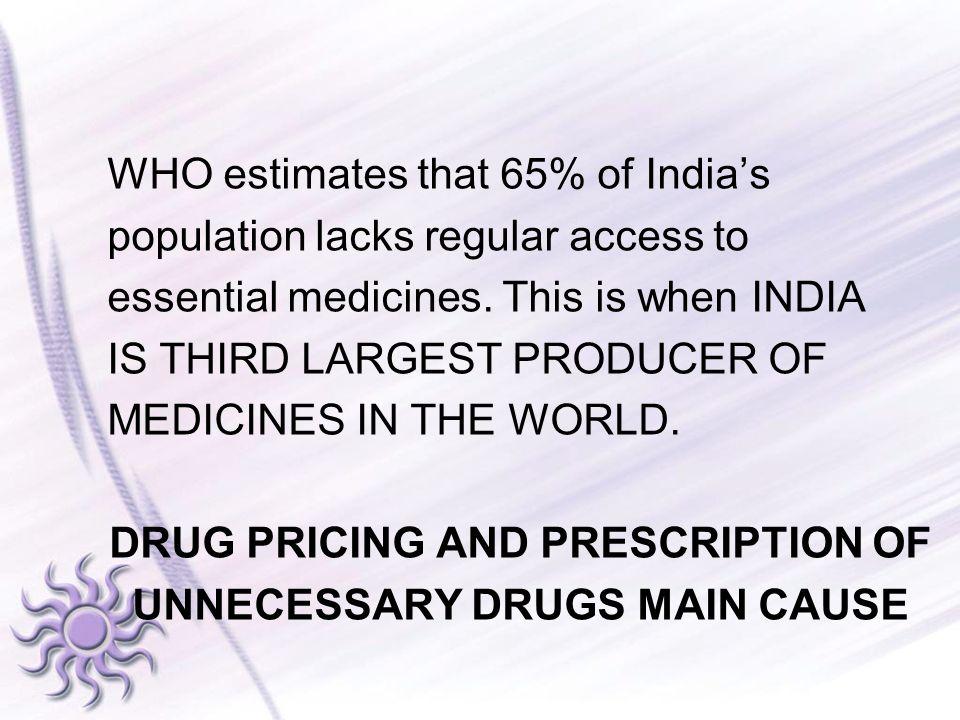 WHO estimates that 65% of India's population lacks regular access to essential medicines.