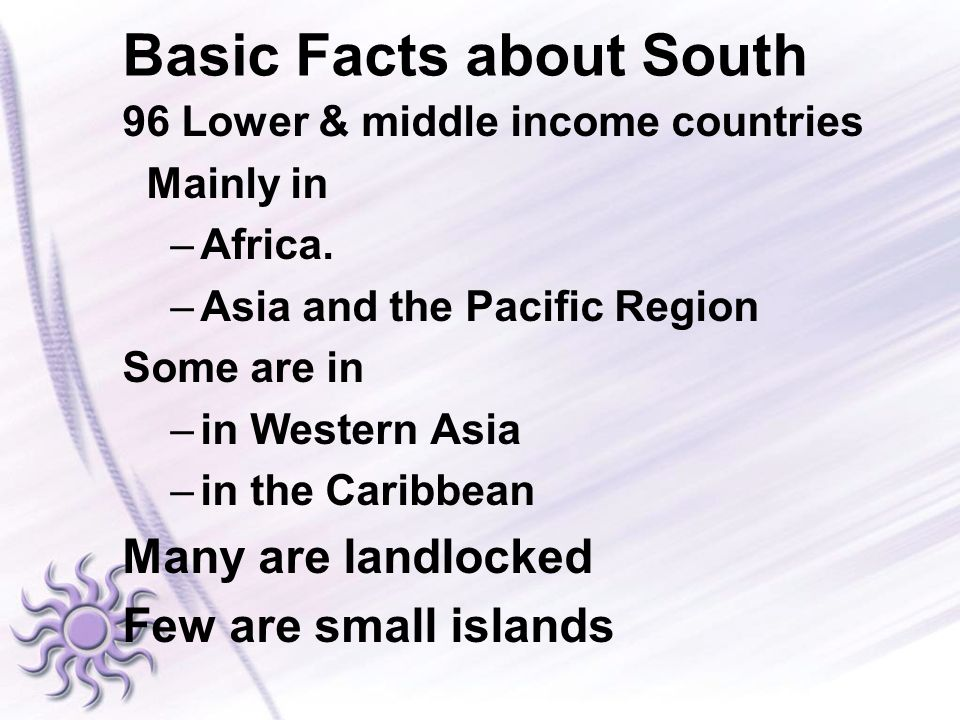 Basic Facts about South