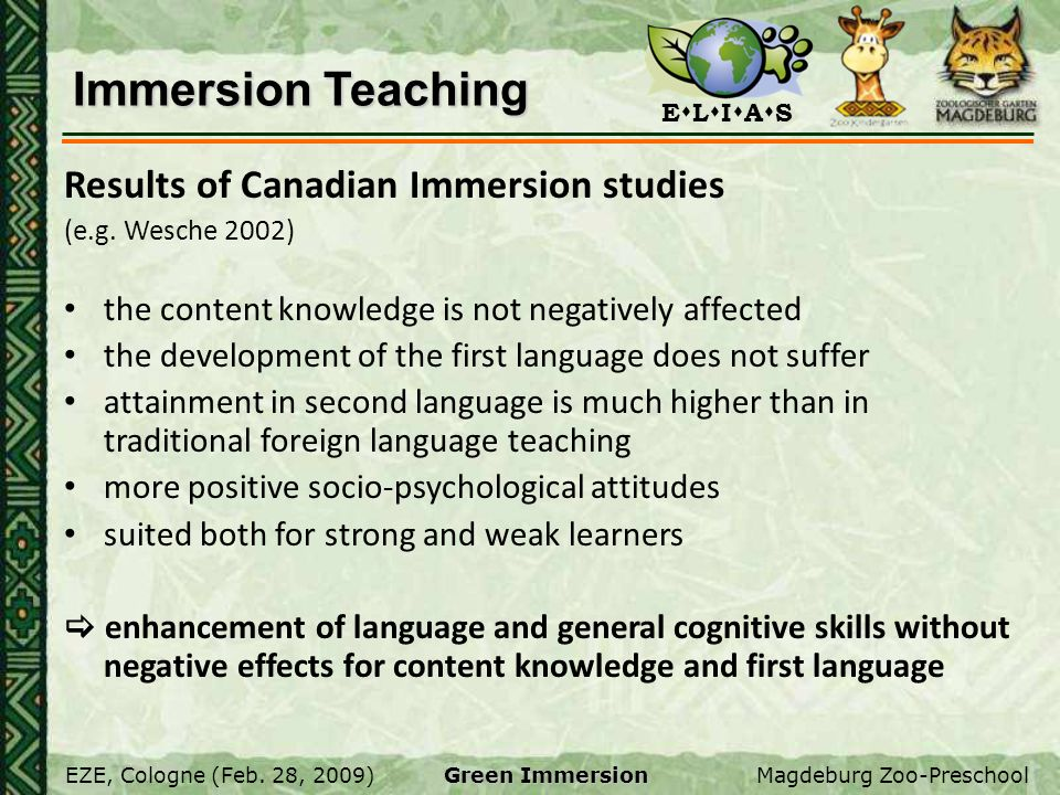 Immersion Teaching Results of Canadian Immersion studies