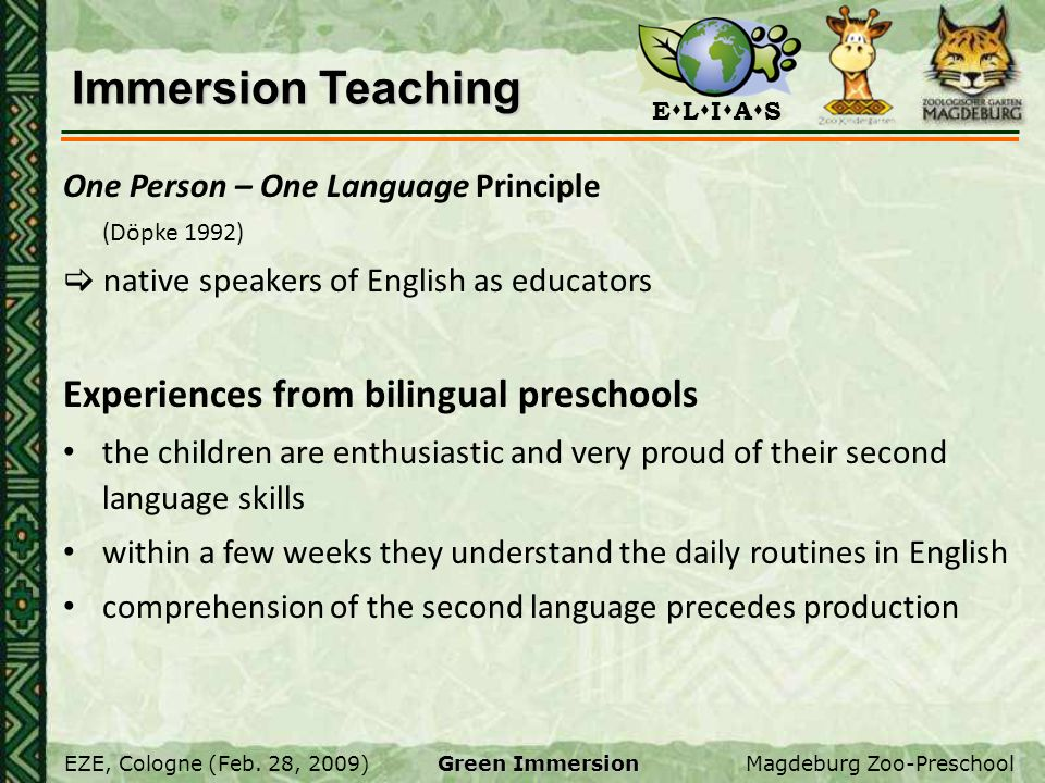 Immersion Teaching Experiences from bilingual preschools