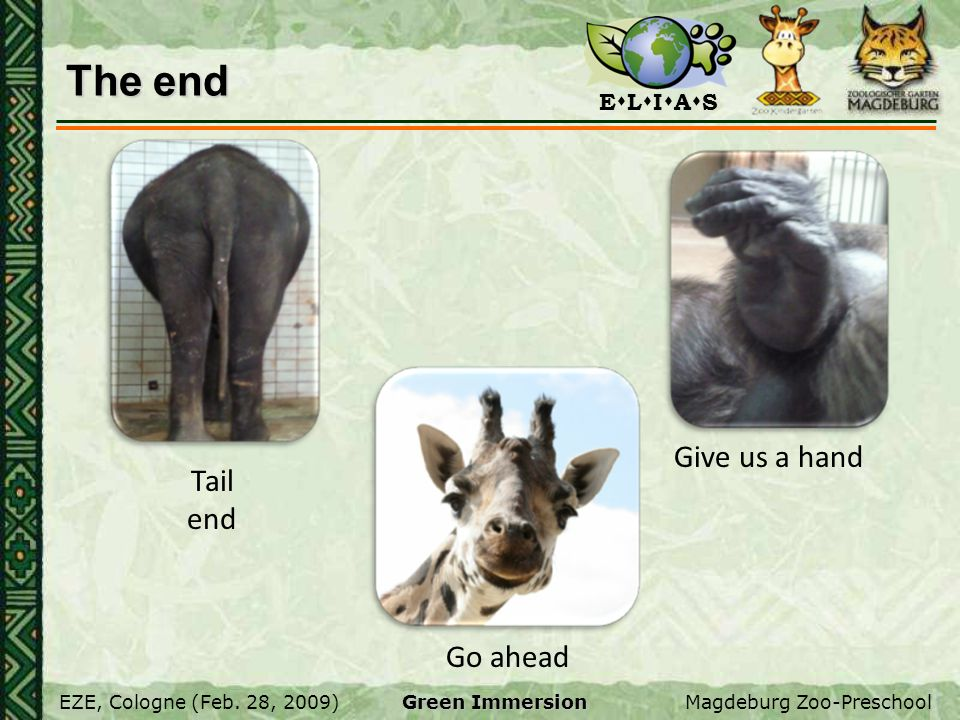 The end Give us a hand Tail end Go ahead