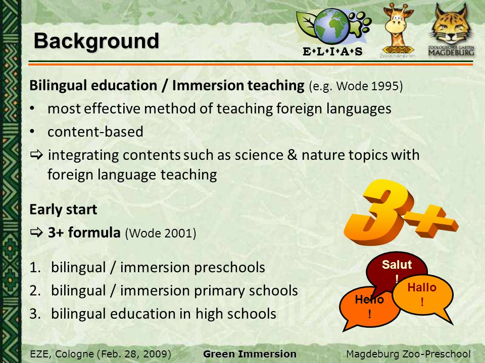 Background Bilingual education / Immersion teaching (e.g. Wode 1995) most effective method of teaching foreign languages.