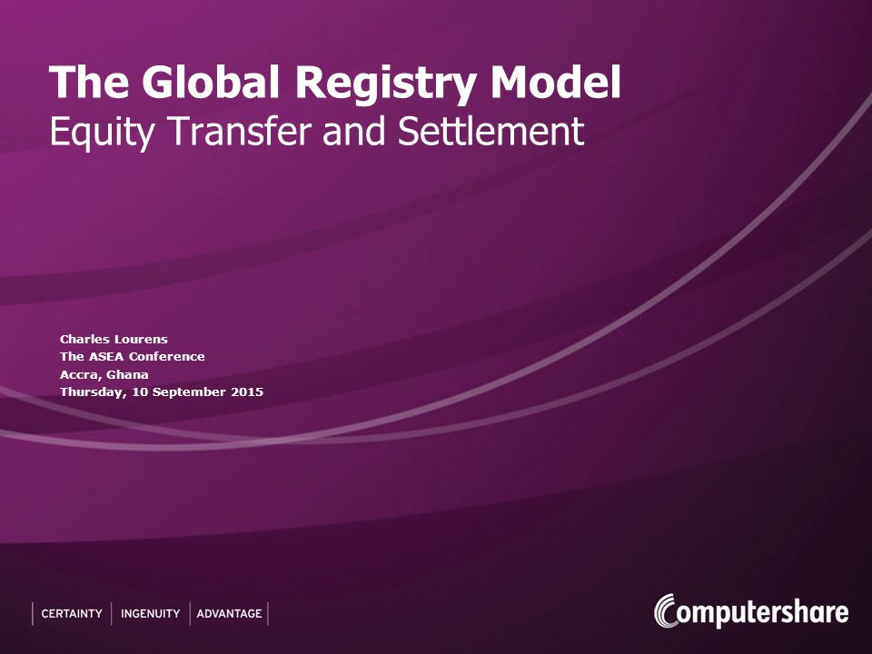 The Global Registry Model Equity Transfer And Settlement Ppt Video