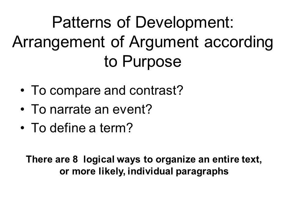 Patterns of Development: Arrangement of Argument according to Purpose