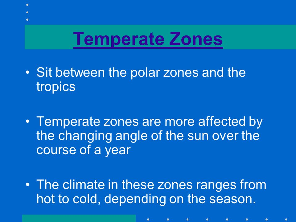 Temperate Zones Sit between the polar zones and the tropics