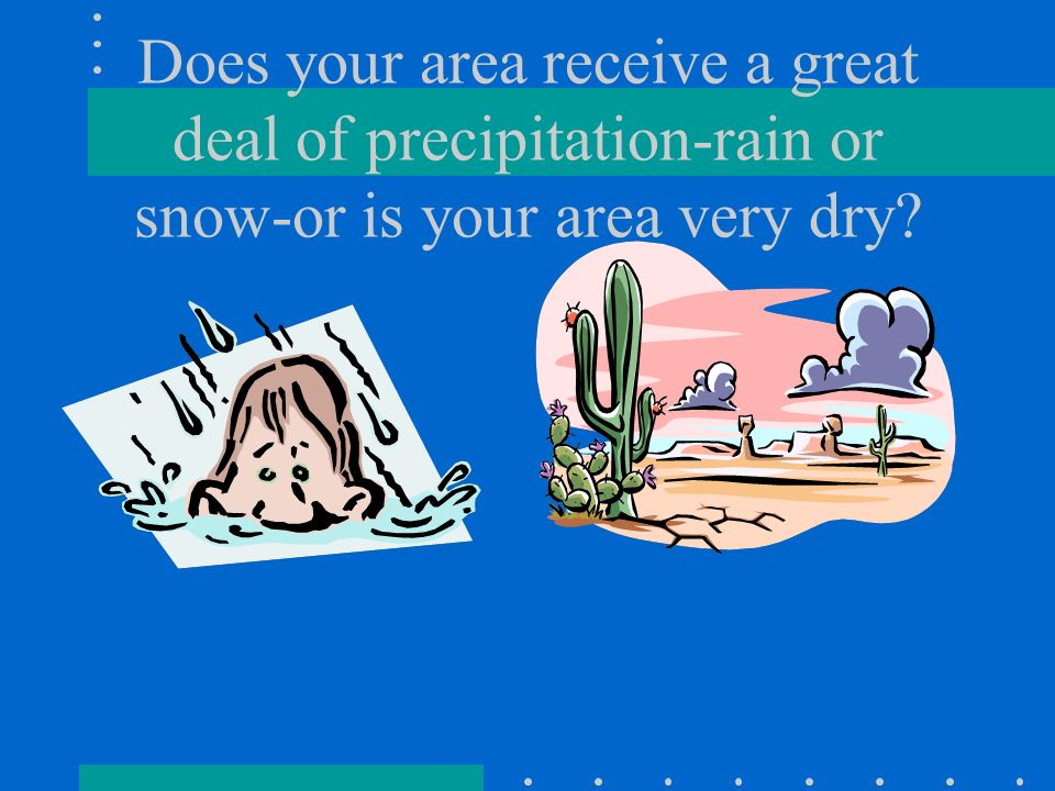 Does your area receive a great deal of precipitation-rain or snow-or is your area very dry