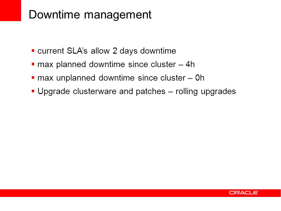 Downtime management current SLA's allow 2 days downtime