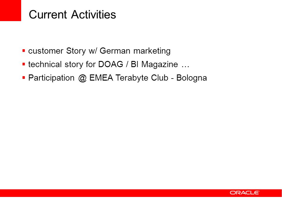 Current Activities customer Story w/ German marketing