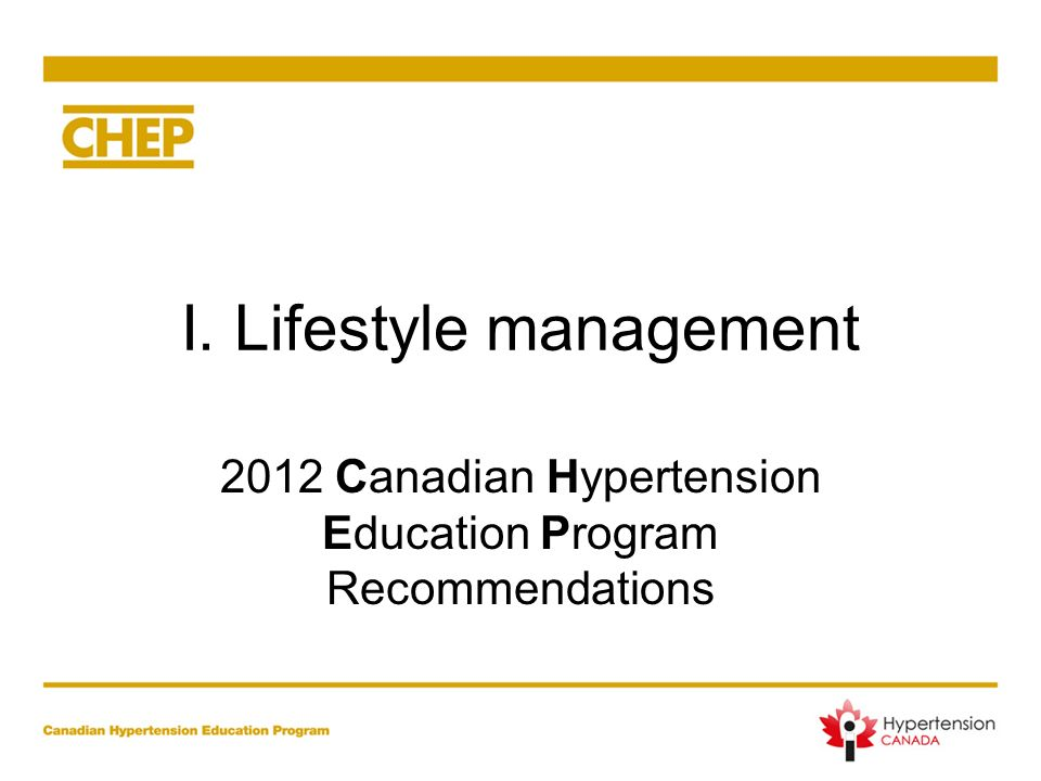 I. Lifestyle management
