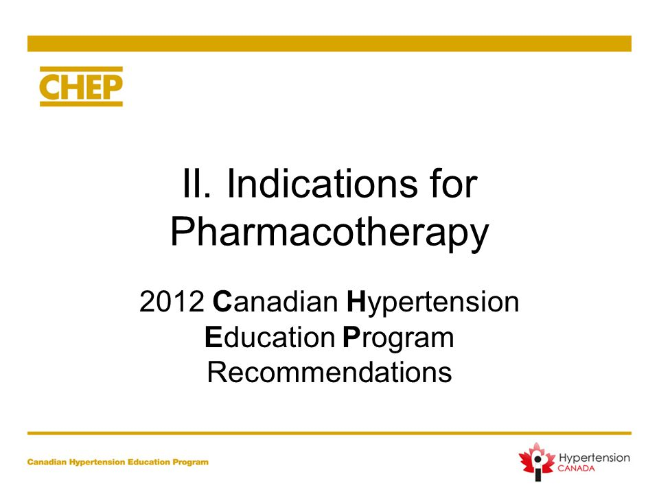 II. Indications for Pharmacotherapy