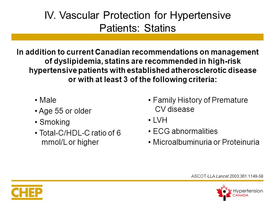 IV. Vascular Protection for Hypertensive Patients: Statins