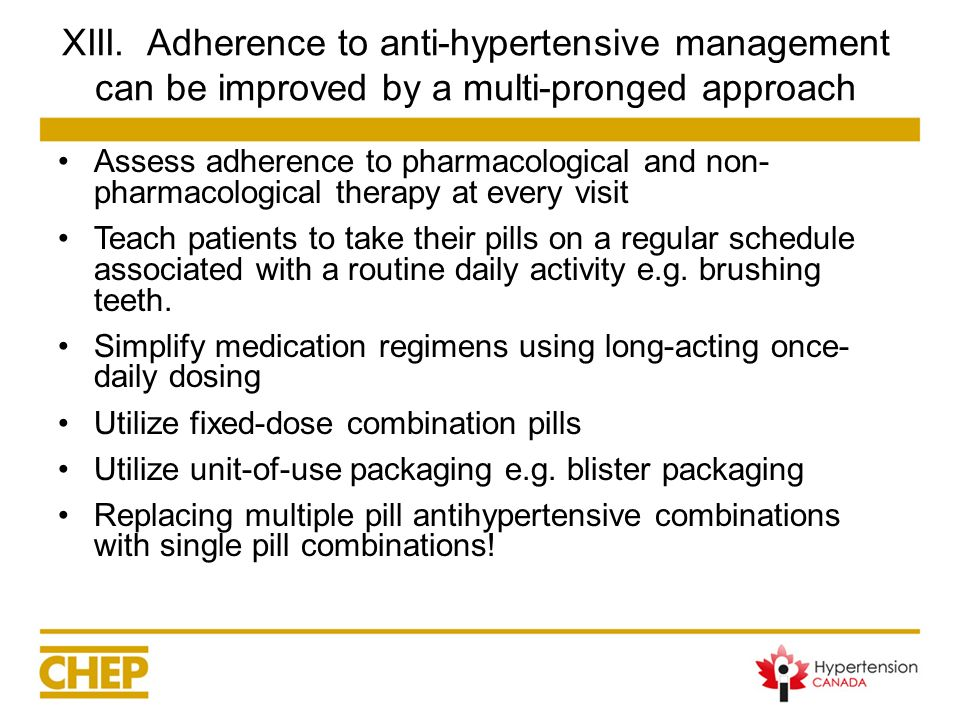 XIII. Adherence to anti-hypertensive management can be improved by a multi-pronged approach